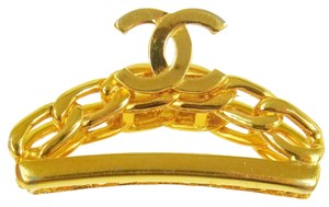 Chanel Authentic CHANEL Vintage CC Logos Hair Clip Gold-Tone Accessories RK09871