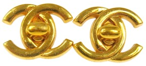 Chanel Authentic CHANEL Vintage CC Logos Turnlock Earrings 0.8 - 0.7