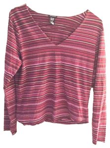 Gap Striped Longsleeve V-neck T Shirt purple