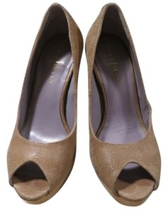 Cole Haan Mariela Stilettos High Heels Open Toe Beige Pumps