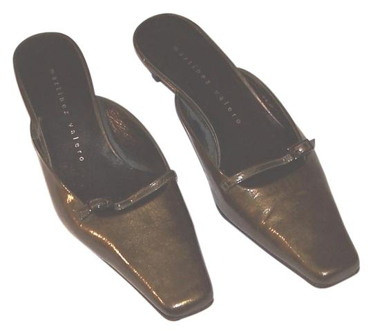 Martinez Valero Leather Made In Spain Mary Jane Strap Gold Buckle Olive Green Mules