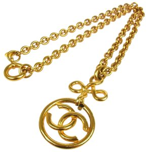 Chanel AUTH CHANEL VINTAGE CC LOGOS MEDALLION GOLD CHAIN NECKLACE 93P FRANCE BT04219