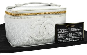 Chanel Auth CHANEL CC Logos Cosmetic Hand Bag Pouch Caviar Skin Leather WH VTG BA00708