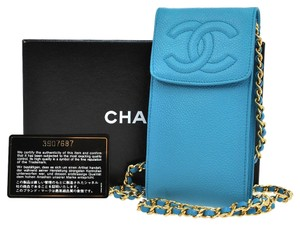 Chanel Auth CHANEL CC Chain Shoulder Bag Cell Phone Case Blue Caviar Leather AK02308