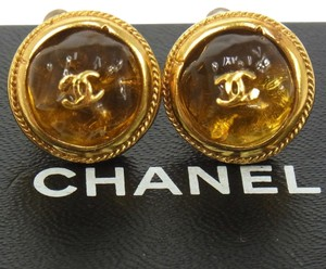 Chanel AUTH CHANEL VINTAGE CC LOGOS GOLD BUTTON EARRINGS CLIP-ON 99A FRANCE RK06655