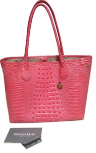 Brahmin Crocodile Leather Tote in Amalfi Pink MELBOURNE