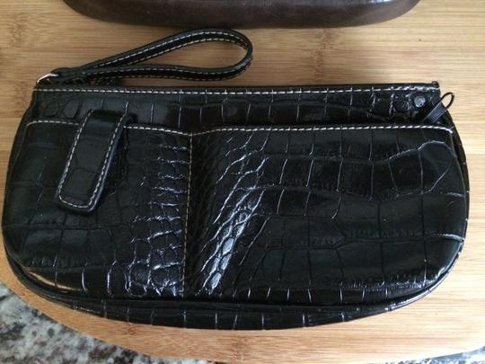 Other Faux Patent Faux Leather Crocodile Wristlet in Brown and Black