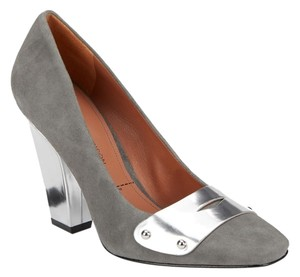 Sigerson Morrison Suede Leather 10 Gray Silver Forrest Pumps