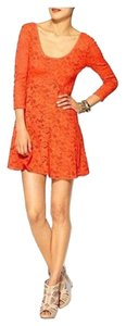 Free People short dress Light Orange Lace on Tradesy
