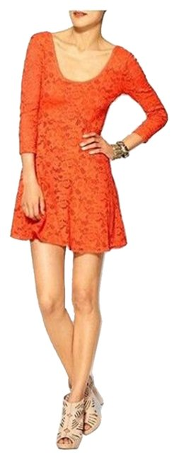 Preload https://img-static.tradesy.com/item/10568623/free-people-light-orange-women-s-34-sleeve-lace-sp-above-knee-short-casual-dress-size-petite-4-s-0-1-650-650.jpg