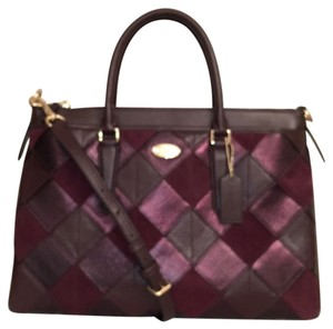Coach Leather Shoulder Satchel in Multi Red