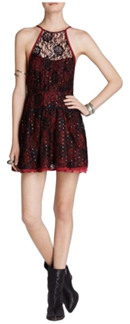 Preload https://item1.tradesy.com/images/free-people-black-red-women-s-embellished-lace-cocktail-sequin-above-knee-night-out-dress-size-6-s-10568905-0-1.jpg?width=400&height=650