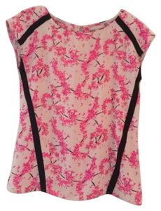 Banana Republic Flower Pattern Short-sleeves Top Pink, black and cream