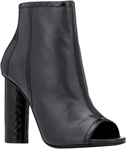 Maiyet Chunky Heel Gold Hardware Open Toe Ankle Black Boots