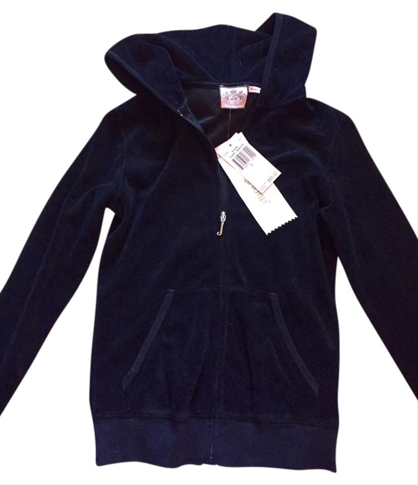 fbd19c917af Juicy Couture Black Terry Cotton Zippered Hoodie Sweater Activewear ...