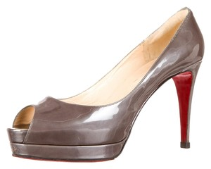 Christian Louboutin Altadama 100 Patent Leather Peep Toe Platform Grey Gray 39.5 Gunmetal 8.5 Silver Pumps