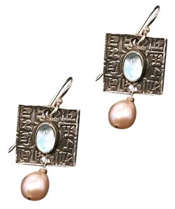 Antique Finish Sterling Silver Earrings w/Aquamarine + Pink Pearl Drop - 1-1/4