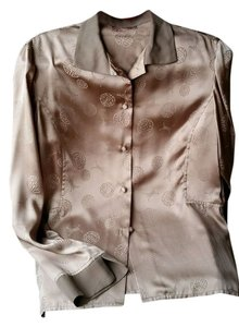 Han Fong Silk Classic Vintage Button Down Shirt Brown