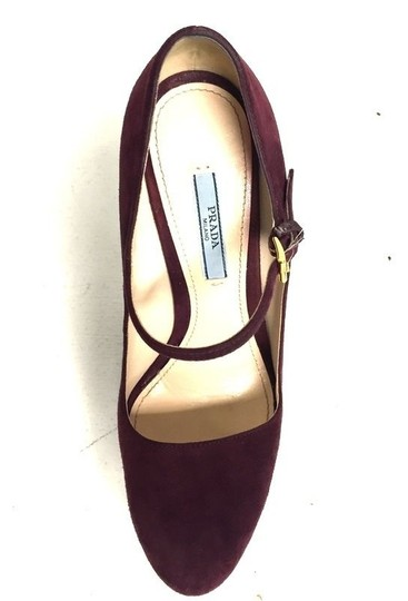 Prada Milano Red Suede Red Wine Pumps