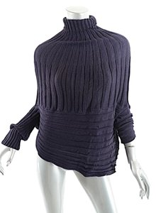 Elm Designs Alpaca Rib Turtleneck Cap Crop Asymetrical Sweater