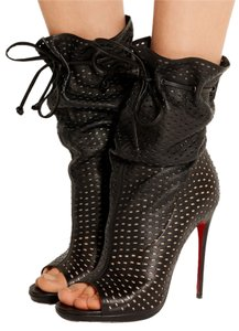 Christian Louboutin Perforated Leather Black Boots