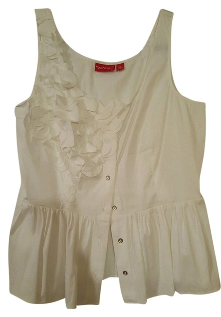 Item - White Cotton Sleeveless Fitted Waist Tank Top/Cami Size 12 (L)