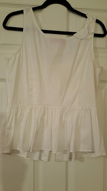 New York & Company Cotton Sleeveless Fitted Embellished Top White