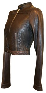 MICHAEL Michael Kors Short Moto Scuba Dark Coat Brown Leather Jacket