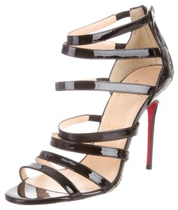 Christian Louboutin Patent Patent Leather Black Sandals