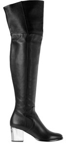 Jimmy Choo Over The Knee Silver Heel Black Boots