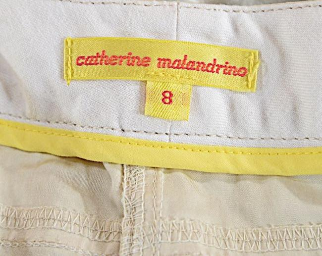 Catherine Malandrino Beige/Stone Cotton Blend Straight Pants Beige/Stone