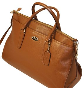 Coach Crossbody Crisscross Strap Leather Pebbled Leather Satchel in SADDLE BROWN