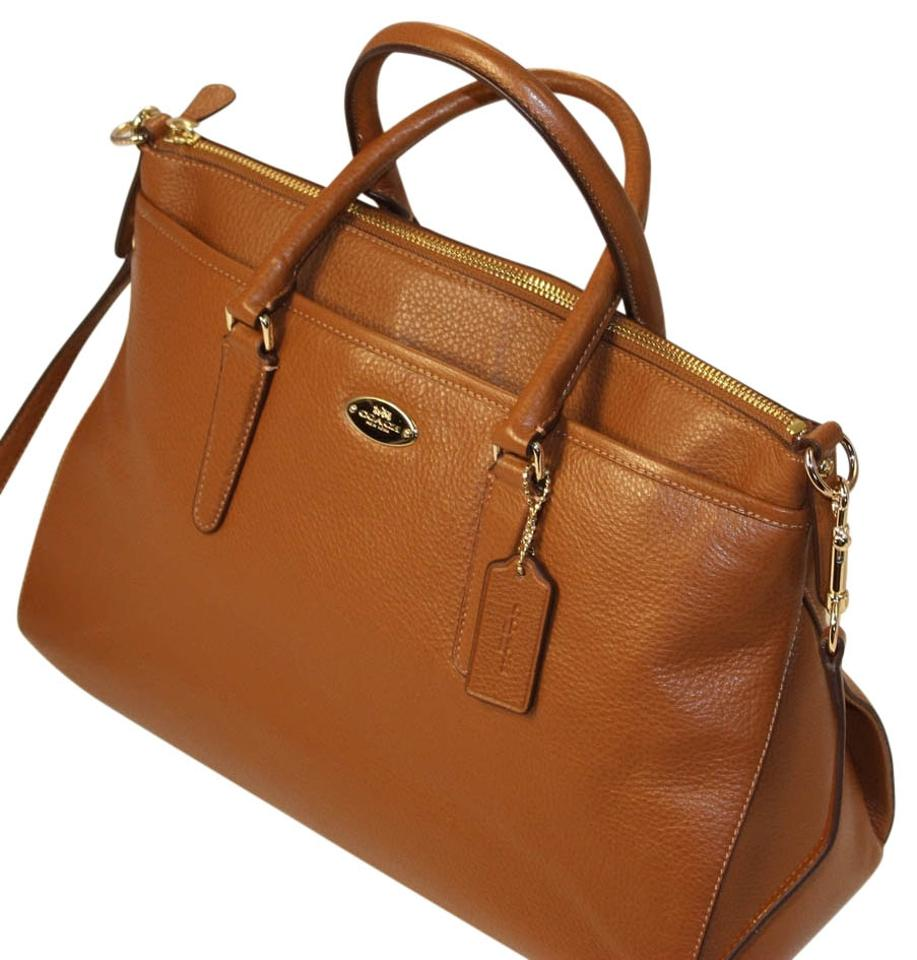 cd7611bb39 Coach Crossbody Crisscross Strap Leather Pebbled Leather Satchel in SADDLE  BROWN Image 0 ...