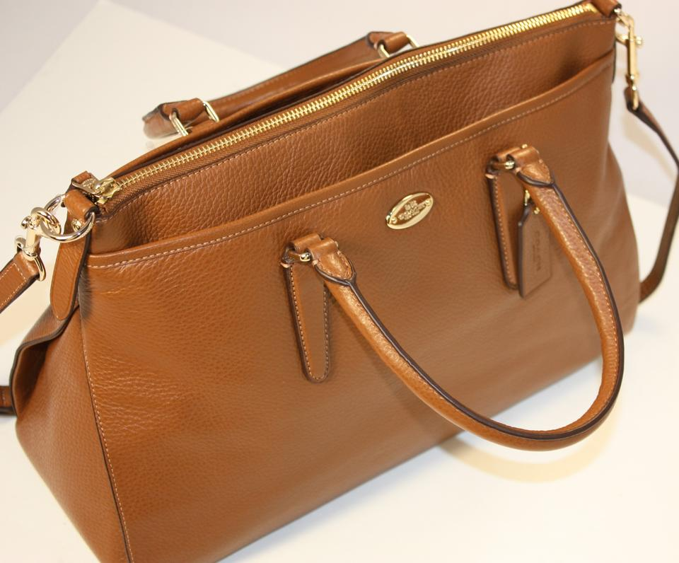 ac87836c4c Coach Morgan Signature Crossbody Handbag F35185 Saddle Brown Luxury Pebbled  Leather Satchel - Tradesy