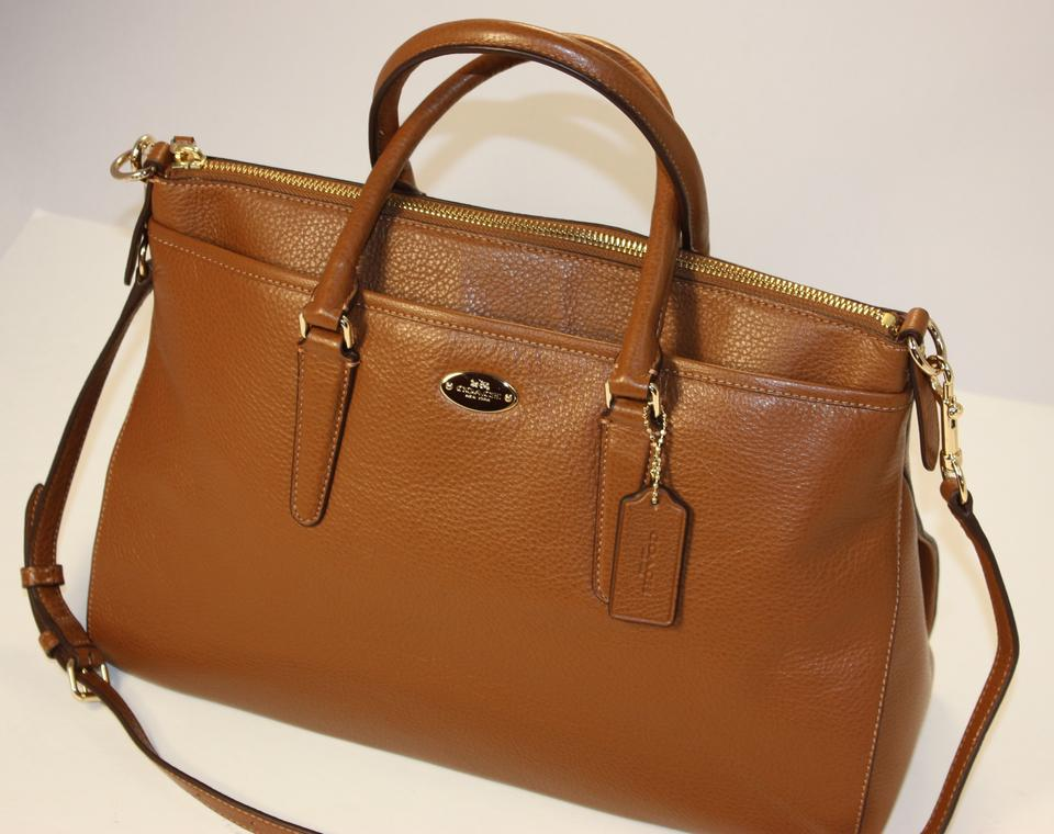 d7983625ff Coach Crossbody Crisscross Strap Leather Pebbled Leather Satchel in SADDLE  BROWN Image 8. 123456789