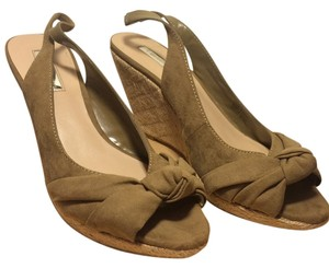 Halston Wedge Slingback Tan Wedges