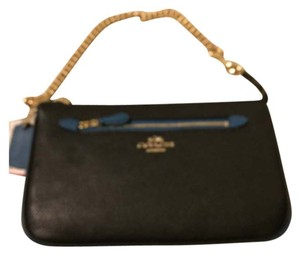 Coach Coach Leather Large Blue Handbag Wristlet New With Tags
