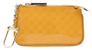 Gucci Gucci Yellow Micro Guccissima Leather Clip Key Case