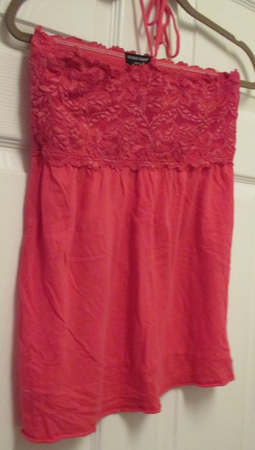 Guess Large Lace Summer Beach Juniors Pink Halter Top