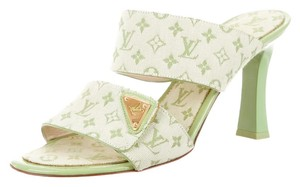 Louis Vuitton Ivory Lv Logo Monogram Slide 38 8 New Gold Gold Hardware Embellished Textured Peep Toe Slingback Green, Beige Sandals