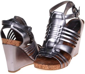 BCBGeneration Metallic Silver Wedges