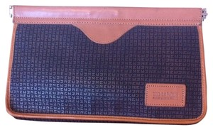 Ted Lapidus Tl Embossed Leather Vachetta Signature Clutch