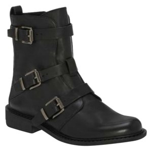 Vince Camuto Moto Leather Boot Buckle Black Boots