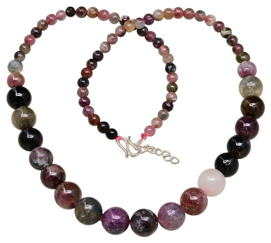 Other GRADUATED TOURMALINE GEM 100% SOLID 925 SILVER NECKLACE 17 5/8