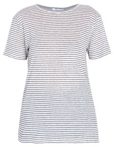 T by Alexander Wang Linen Grey Striped Silk T Shirt