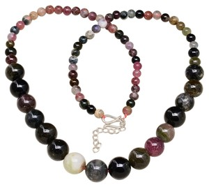 GRADUATED TOURMALINE GEM 100% SOLID 925 SILVER NECKLACE 18 1/8