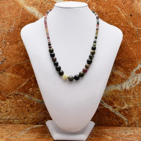 Other GRADUATED TOURMALINE GEM 100% SOLID 925 SILVER NECKLACE 18 1/8