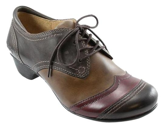 Taos Footwear Calfskin Leather Upper Lace Up Jive 2 Wingtip Comfort brown multi Flats