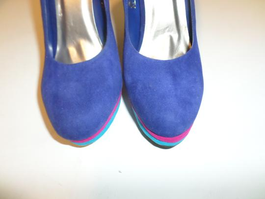Yoki Blue Multi Color with pink/teal bottoms, Pumps