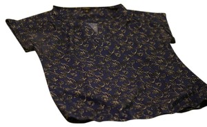 Ann Taylor Navy Flowers Top Navy, Flowery Pattern